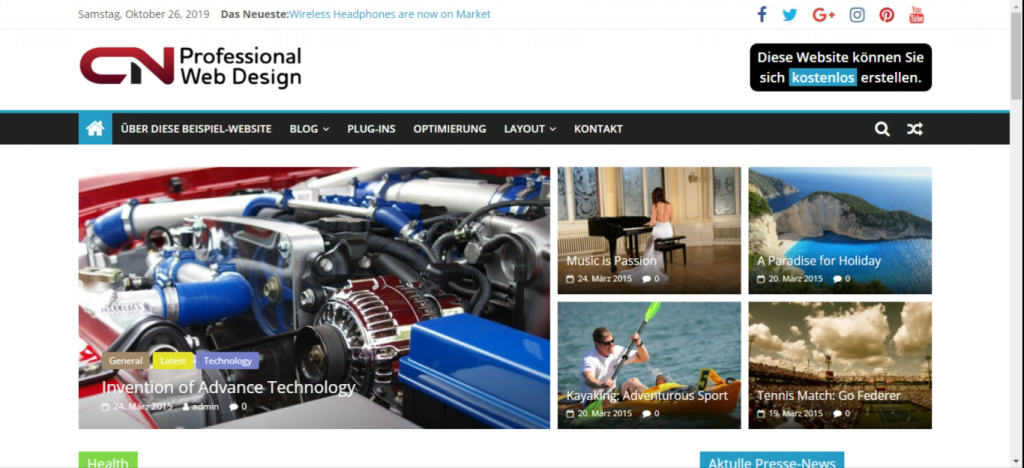 Website mit ColorMag-Theme